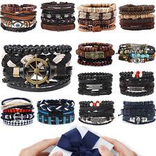 Surf Genuine Leather Bracelet Wristband Bangle Punk Beaded Wrap Mens Women Gifts
