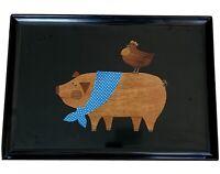 "Vintage Rare Couroc Of Monterey CA Serving Bar Tray Pig Chicken MCM 18""x 12"""