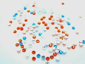 3.6mm Red-White and Blue Faceted Flat Back Glue On Beads 144 pcs#067SS