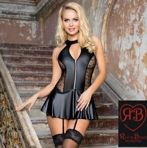 SEXY Babydoll SKIRT in Black with Garters Laced Back 8 10 12 14 16 18 20 22