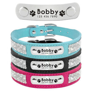 Bling Rhinestone Personalized Pet Collar Custom Dog Cat ID Name Tag Engrave XS-L