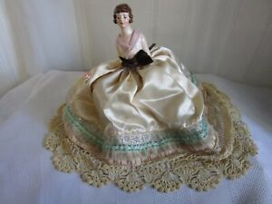 Vintage Bisque Porcelain Pin Cushion Half DOLL Figurine Oversized Satin Skirt