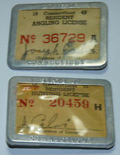 1951 CONNECTICUT RESIDENT HUNTING LICENSE METAL BADGE PINBACK BUTTON LOT 1949 b3