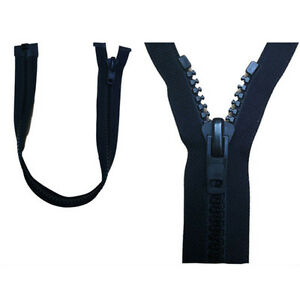 "YKK OPEN ENDED ZIP PLASTIC NON RUST 34CM 13"" 10 WEIGHT SLIDER BLACK HEAVY DUTY"