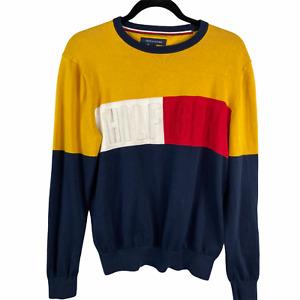 Vintage Tommy  Hilfiger Sweater Pullover Color Block 3D Letters Men Small