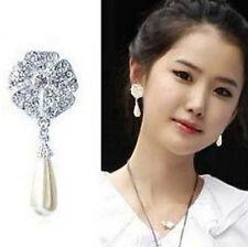 FD4902 Elegant Rhinestone Crystal Pearl Drop Flower Flora Stud Earring Jewelry