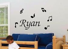 Music Notes & Personalized Name, Vinyl Wall Art Decal Stickers, Song Band custom
