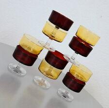 10 Luminarc Sektschalen Sektgläser Dessertschalen Eisbecher Rot Gelb 60er Jahre