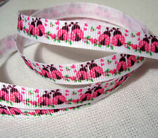 RUBAN GROS GRAIN - 10 mm au mètre - AMOUR de COCCINELLES ROSES - Couture