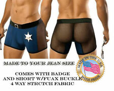 Mens Sexy Cop Policeman shorts costume - Made to your Jean size
