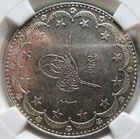 TURKEY Ottoman Emp. 20 kurush AH 1327//8 1916 NGC MS 61 UNC Muhammad V.