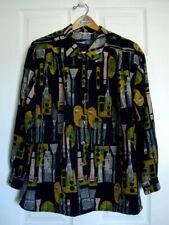 Vintage Rayon Shirt w/ Unique Art Supplies Print! Sz Large Ls Unisex, Men's