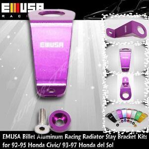 EMUSA Billet Aluminum RacingRadiator StayBracketKit fit 92-95 Honda Civic PURPLE