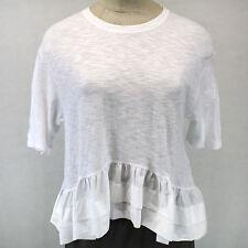 NEW NWOT Akemi+Kim Anthropologie White Top Cotton Raffle Hem Blouse Summer S/M