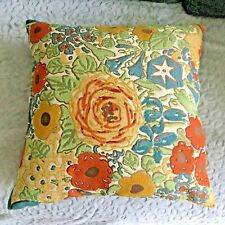 Vintage Mid Century Groovy Flower Decorative Pillow Brown Rust Green Yellow Teal