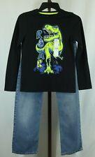 Garanimals Boys Black Dinosaur Graphic T-Shirt Blue Denim Jeans Outfit Set Sz 10