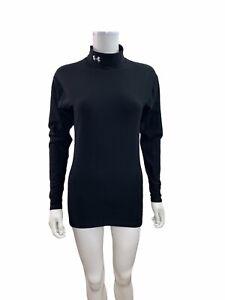 Under Armour Women's Size Medium Long Sleeve High Neck Black Athletic Shirt