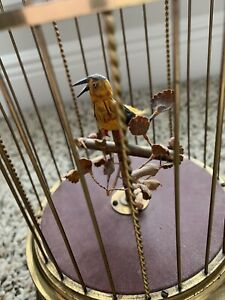 Karl Griesbaum brass bird in cage antique music box