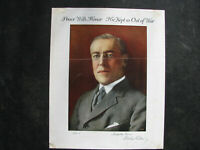 """1916 WOODROW WILSON Small Campaign Poster 13x16"""" """"HE KEPT US OUT OF WAR"""" vintage"""