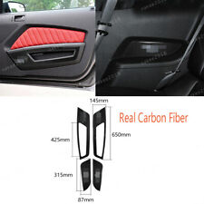 Real Carbon Fiber Inner Door Panel Cover Trim For Ford Mustang 2009-2013 4PCS