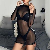 Dress Women Long Evening Mini Sheer Bodycon Sexy Party Short Sleeve Clubwear