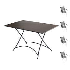 Set tavolo rettangolare e 4 sedie con braccioli in ferro grigio antracite