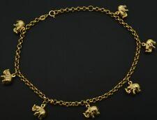 Charm Anklet Bracelet 9''- 10'' 14k Solid Gold Multi Lucky Elephant