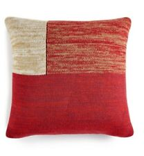 """Martha Stewart Chunky Knit 20"""" Square Decorative Pillow Red/Beige"""