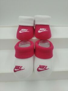 2 Pair Nike Baby Girls Booties, Size 0-6 Months, Pink, White, Shower Gift, M