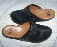 Sofft Women's Leather Clogs Size 6.5 Black Leather Mule Slip On Comfort Shoes