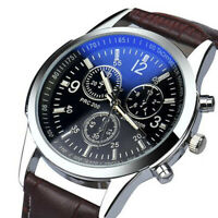 Herrenuhr PU Leder Armbanduhr Schwarz Sport Quarz Analog UhrF0X1