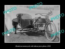 OLD LARGE HISTORIC PHOTO OF HENDERSON MOTORCYCLE PRESS PHOTO, SIDECAR 2 c1920