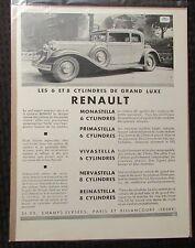 "1931 RENAULT LES 6 De Grand Luxe French 11x14"" Automobile B/W Print Ad FVF 7.0"