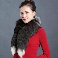 "Real Silver Men Fox Fur Scarf Women Winter 90cm/35"" Long Tail Collar Scarf"
