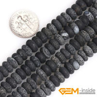 """Natural Black Agate Gemstone Frosted Matte Rondelle Spacer Loose Beads 15"""" YB"""
