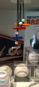 """The """"Original"""" Baseball and Bat Necklace Mookie, Blue, Orange, Red or Natural"""