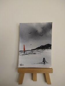 ELW Original, Aceo Cards. Red sails around the headland.