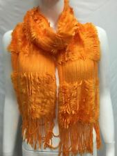 KNITTED WITH FUR WINTER SCARF THICK BULKY COLOR ORANGE