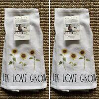 Rae Dunn Set of 2 Kitchen Towels LET LOVE GROW SUNFLOWERS FARMHOUSE NWT #1133