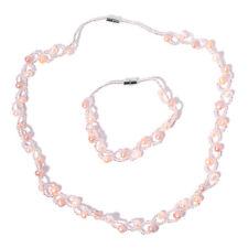 "Freshwater Multi Color Pearl, White Glass Silvertone Bracelet (8"") Necklace(20"")"