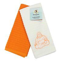 Kitchen Dish Towel Set of 2 - 16 x 26 - Embroidered Buddha Pattern - Soft Cotton