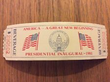 Vintage 1981 PRESIDENT RONALD REAGAN INAUGURATION Inaugural Beverage Ticket Pass