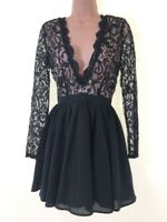 BNWT MISSGUIDED Black & nude lace plunge low cut party prom dress size 6 euro 34