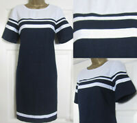 NEW Next Shift Tunic Dress Navy White Block Striped Linen Blend Summer Sun 6-22