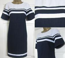 NEW Next Shift Tunic Dress Navy White Block Striped Linen Blend Summer Sun 6-22