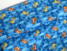 Jersey Stoff  Drache DrachenTiere Kinderstoff Kinder blau Meterware 14132