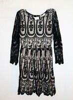 Mika & Gala Brand Nude Lined Black Lace Over Long Sleeve Dress Size 6 BNWT #RM09