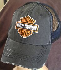 Harley Davidson Motor Cycles Distressed Low Profile Unstructured Black Mesh Hat