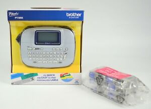 BROTHER P-touch PTM95 Handy Label Maker (Blue Gray) Plus 6 Color Label Tapes