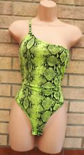 PRETTYLITTLETHING LIME NEON GREEN SNAKE ONE SHOULDER THONG SEXY BODYSUIT TOP 10